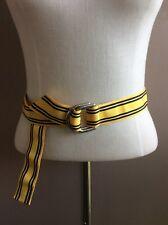 """Polo Ralph Lauren Navy Blue & Yellow D-link Ribbon Belt 42"""" Made in USA"""
