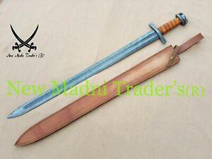 "38"" DAMASCUS HANDMADE WRAP BROWN LEATHER HANDLE VIKING SWORD"