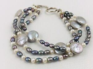 Fresh Water Pearl Bracelet Purple Triple Strand Sterling Toggle Clasp