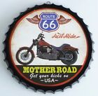 """Route 66 """"Just Ride Mother Road Get Your Kicks On"""" Metal Beer Cap Sign  Large"""