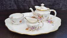 Royal Crown Derby Derby Posies Miniature Teapot, Sugar Bowl and Creamer on Tray