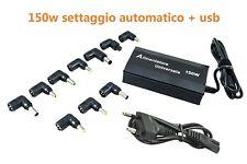 ALIMENTATORE UNIVERSALE PC 150W CARICATORE LAPTOP USB NOTEBOOK SETTAGGIO AUTOMAT