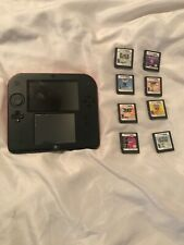 Nintendo 2DS B/R handheld with 8 games all working. BUT BROKEN AC adapter port