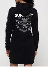 NWT SUPERDRY TOKYO BLACK HOODED SWEAT DRESS Sz. 10