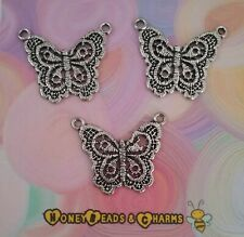 ❤ Antique Lace Look Butterfly Pendant (2 loops) ❤ Pack of 3 ❤CRAFTING/JEWELLERY❤