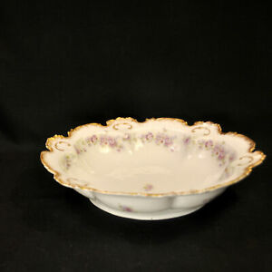 """GDA Ch Field Haviland Limoges 10 1/2"""" Bowl Purple White Floral w/Gold 1900-1941"""