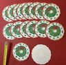 "16 Vintage 1960s Paper Waxed 3"" Scalloped Drink Coasters Christmas Wreath"