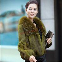 Real Genuine Rabbit Fur Womens Fox Fur Collar Coat Warm Fashion Jacket Outwear