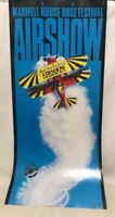 1991 Maxwell House Rose Festival Airshow Portland Poster Aviation Airplane 29x13