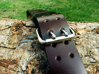 Handmade Genuine Brown Leather Belt 2 inch width Two Prong Nickel Plated Buckle