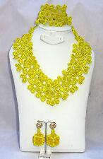 Latest Design Style Yellow Flower Cube African Beads Bridal Wedding Jewelry Set
