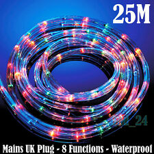ROPE LIGHTS 25M Outdoor Indoor Main Christmas Xmas Multi Colour LED Strip String