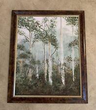 Vintage Original Oil Painting  Landscape  Trees Bush In Wooden Frame