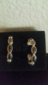 Jay King Inside/Outside Smokey Quartz Hoop Sterling Silver Pierced Earrings New