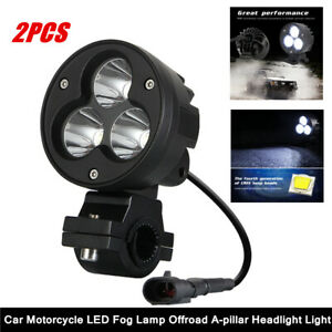 "1Pair Car Motorcycle Offroad 3"" A-pillar LED Fog Light Work Spotlight Headlight"