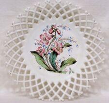Vtg Lattice Edged Milk Glass Plate Pink Flowers in Center