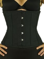 "305 Authentic Black Cotton 22"" Inch Underbust Corset Steel Boned"