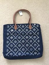NWT Abercrombie & Fitch Women Classic IT Tote Book School Bag Navy