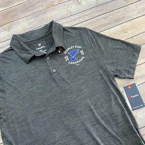 Fanatics NHL St. Louis Blues 2019 Stanley Cup Champions Polo Shirt Large L NEW