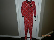Adult Scottie Dog Plaid Footed Fleece Pajamas S Small One PC Union Suit Footie