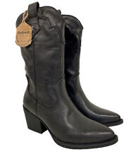 Ladies Pull On Faux Leather Midcalf Cowboy Boots Block Heel Black Sz UK 2.5-8