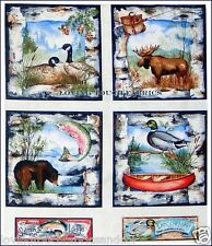 """RED ROOSTER """"WHITE BIRCH COVE"""" SPORTS FISH DUCK BEAR  FABRIC PANEL 23""""X44"""""""