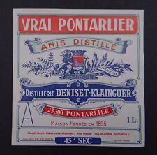 Etiquette VRAI PONTARLIER ANIS DENISET KLAINGUER no absinthe absinth label