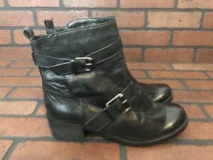 Lucky Brand Black Leather Boots With Belt Straps Size 10