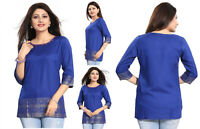TOP WOMEN FASHION SHORT INDIAN KURTA KURTI TUNIC  SHIRT COTTON MM176 BLUE