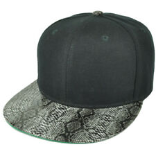 Black Blank Plain Solid Panel Faux Snake Skin Flat Visor Snapback Hat Cap Animal