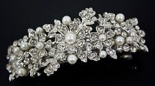 beautiful elegant wedding bridal barrette pearl & crystal hair clip USA seller