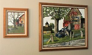 """2 VINTAGE H HARGROVE SERIGRAPH """"BLUE TRUCK & LIGHTHOUSE BARN """" / """"BARN AND TREE"""""""