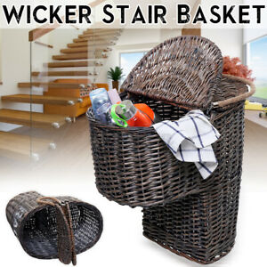 Wicker Stair Step Storage Basket with Carry Handle&Liner Shoe Storage    !!
