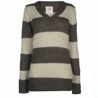 Lee Cooper Womens Essential Stripe V Neck Knit Jumper Sweater Pullover Long