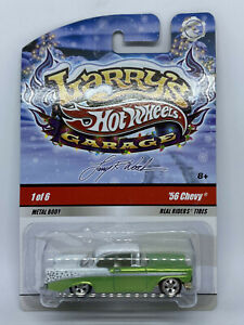 Hot Wheels Larry's Garage Holiday Cars '56 Chevy with Real Riders (Green) #1/6