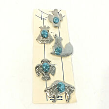 Vintage Set 5 Western Button Covers Silver Tone Faux Turquoise