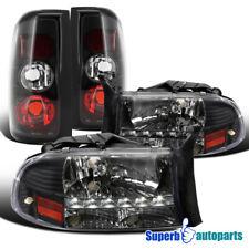 For 1997-2004 Dodge Dakota LED DRL Headlights+Tail Lights Brake Lamp Black