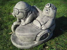 Pig motor bike and side car stone garden ornament | Many more ornaments in my sh