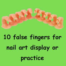 10 piece Plastic Nail Art Practice Finger Acrylic Display Fingers 2 Styles