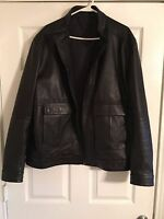 Elie Tahari Men's Lamb Leather Fall Jacket Black Size XL Front pocket Full zip