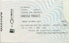 RARE / TICKET CONCERT LIVE - VANESSA PARADIS A PARIS OLYMPIA - LE 20 MARS 2001