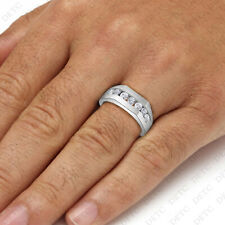Mens Round CZ Wedding Ring Engagement Pinky Band In 14K White Gold Finish