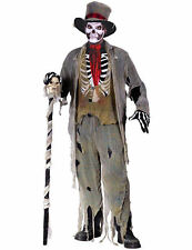 Adult Grave Groom Costume Zombie Voodoo Skeleton Halloween Fancy Dress Outfit One Size