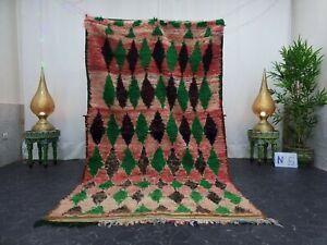 """Moroccan Handmade Vintage Rug 4'7""""x8'1"""" Berber Geometric Green Black Wool Rug"""