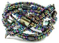 Paua Abalone Shell Seed Beads Memory Wire Adjustable Cuff Bracelet Jewelry CA237