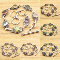 925 Silver Plated ADJUSTABLE FASHION Bracelet, Multistone & Other Gems To Choose