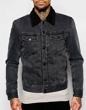 DIESEL DENIM BORG JACKET L LARGE WOOL FLEECE FUR LINES NECK DISTRESSED JEANS