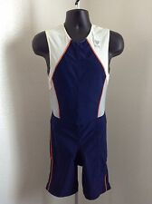 TYR Dri Max Triathalon Mens Bike Skinsuit Cycling Large White/Blue Color SXS