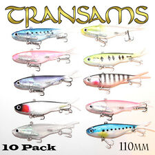 10x Mullet Transam Lures 115mm Soft Fishing Lure Plastic Vibes Jack Barra 35g