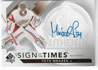 17-18 UD SP authentic Hockey Sign of the Times Petr Mrazek Autograph SOTT-PM